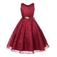 Children Party Lace Summer Girl Kid Dress Purple Ivory Burgundy Flower Girl Dresses For Weddings