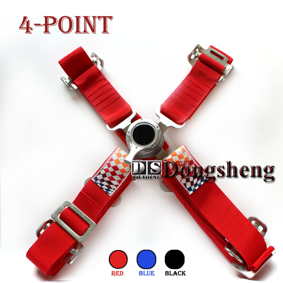 Car modification 2018 2-inch red 4/5/6-point quick release metal fast-release seat belt (red blue black)