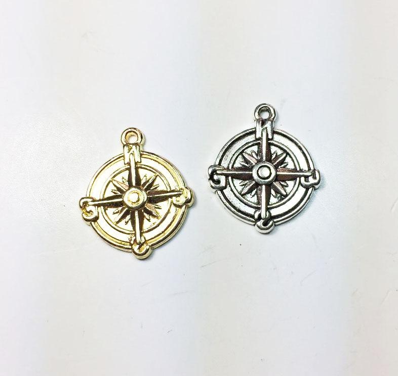 Eruifa 20pcs Hot 18mm Nice Coin Hexagram Zinc alloy DIY Charms Pendant Jewelry handmade DIY 2 Colors