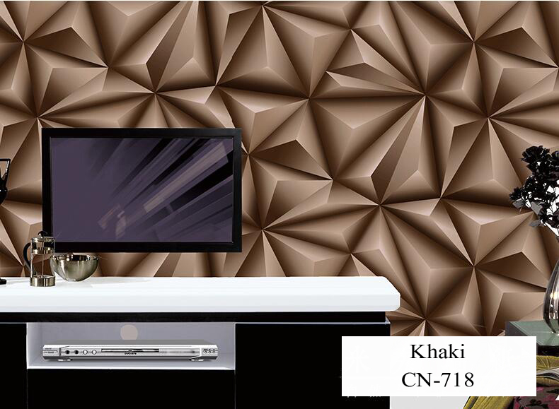 Papier peint pour murs 3 D géométrie trdimensionnelle moderne 4D Tv fond papier peint rouleau argent gris papiers peints pour salon - 2