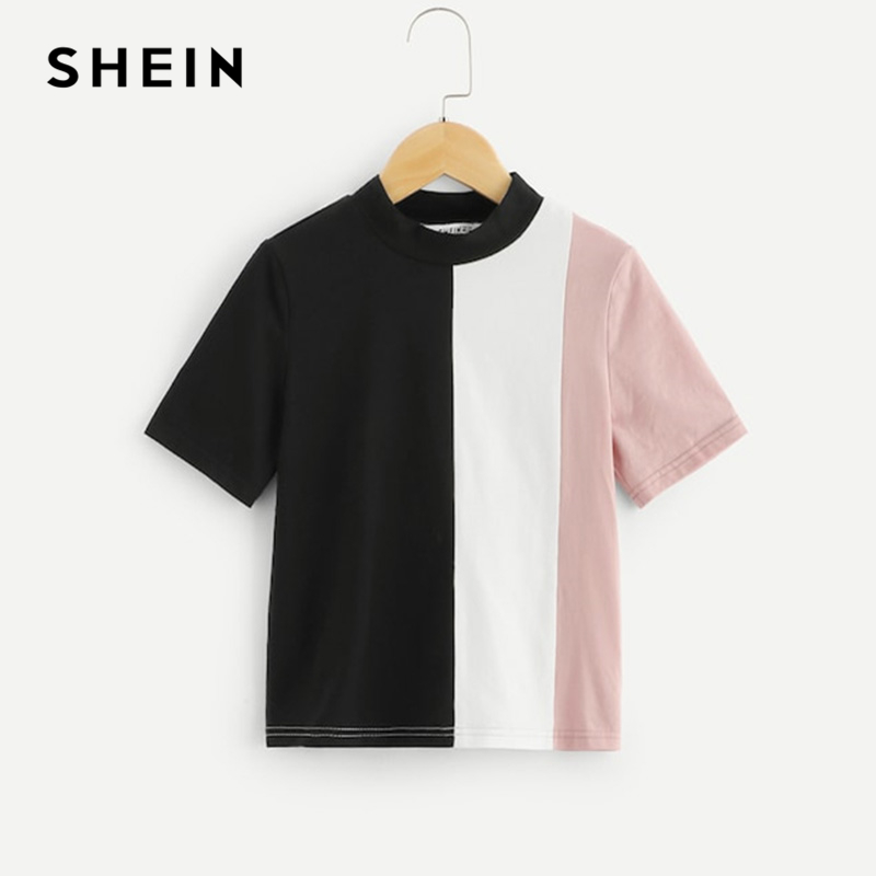 SHEIN Kiddie Stand Collar Color Block Casual Kids T-Shirt Girls Tops 2019 Summer Fashion Short  Sleeve Children Girl Shirts Tee shein black elegant mock neck scallop trim cut out v collar short sleeve solid tee summer women weekend casual t shirt top