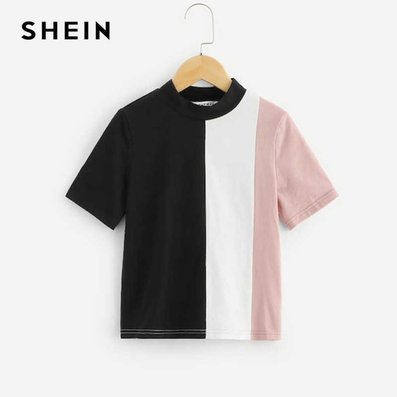 00905e8253 SHEIN Kiddie Stand Collar Color Block Casual Kids T-Shirt Girls Tops 2019  Summer Fashion