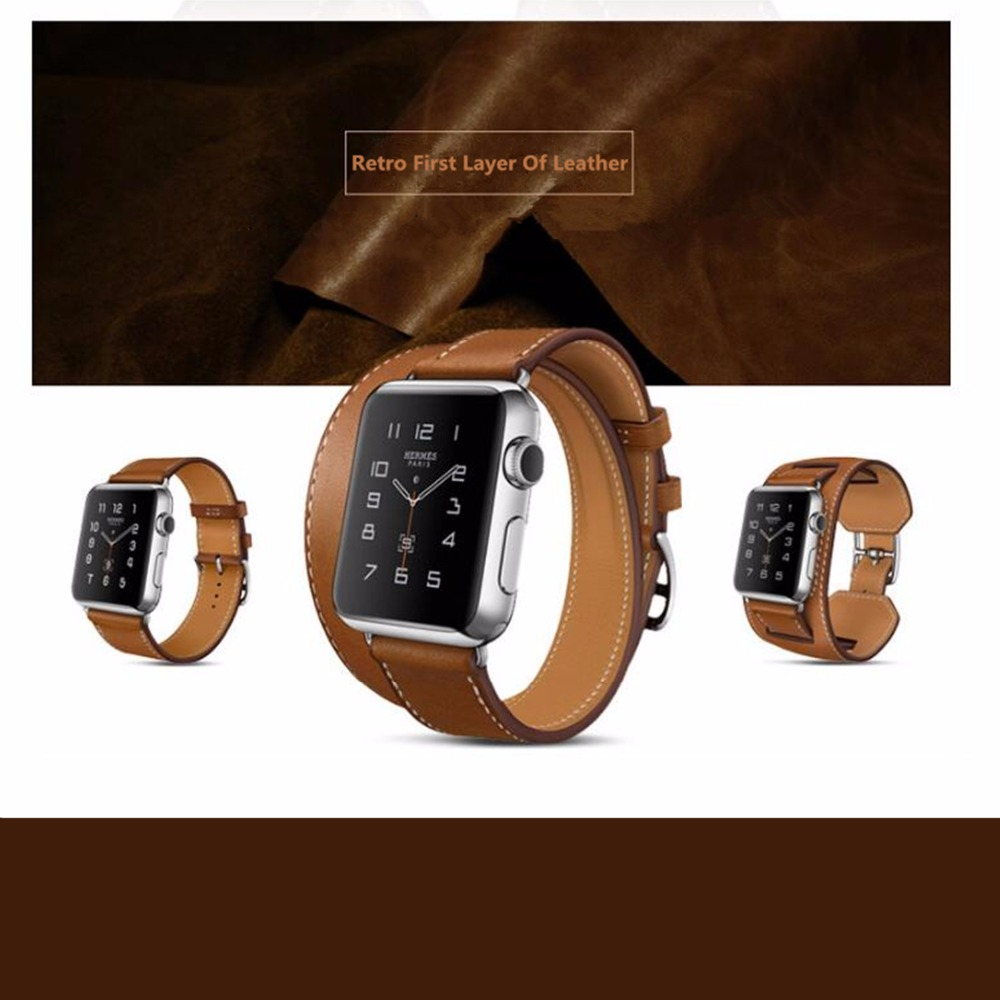 CRESTED Genuine leather watch strap band for hermes apple watch 42mm/38mm bracelet Leather watchband hermes watch accessories crested leather cuff bracelets watch band for apple watch hermes bracelet 38mm 42mm