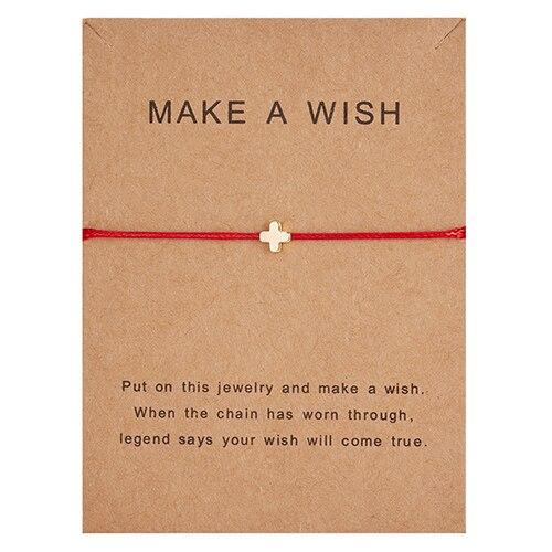 Простой крест красная струна браслет Регулируемая плетение счастливая Веревка Браслеты для женщин мужчин детей подарок ювелирные изделия ручной работы - Окраска металла: cross red