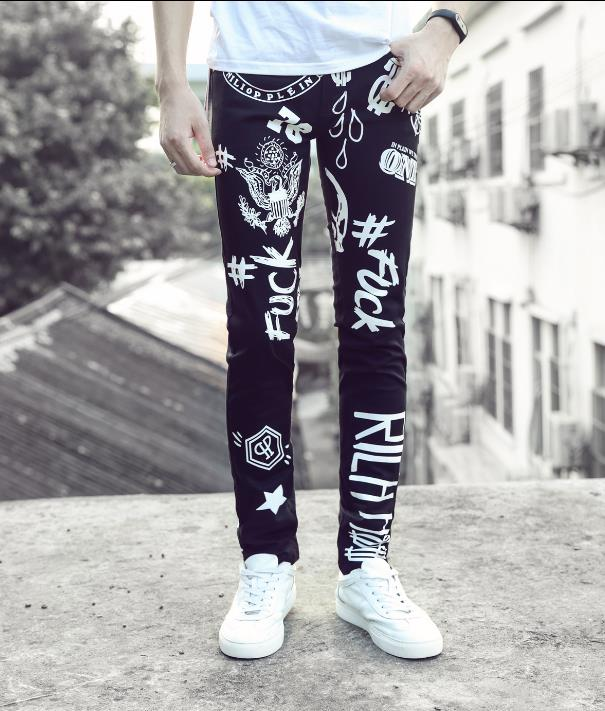 European autumn winter slim elastic jeans mens pants casual design printing straight trousers man men feet pants men's clothing