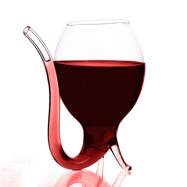 Glass of Wine With a Straw Halloween
