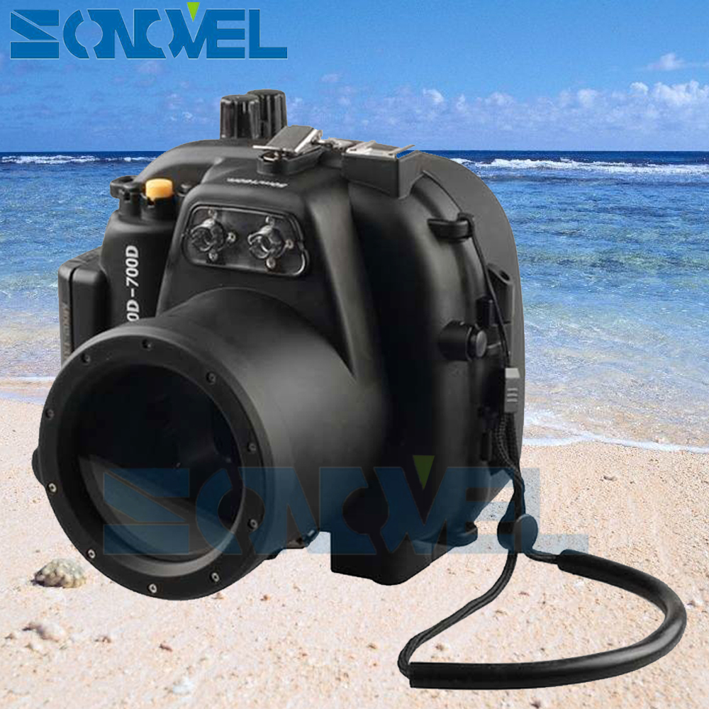 Meikon 40m 130ft Waterproof Underwater Diving Case Camera Housing Case For Canon EOS 700D 650D Rebel T4i/T5i  With 18-55mm Lens 40m 130ft waterproof underwater camera diving housing case aluminum handle for sony a7 a7r a7s 28 70mm lens camera
