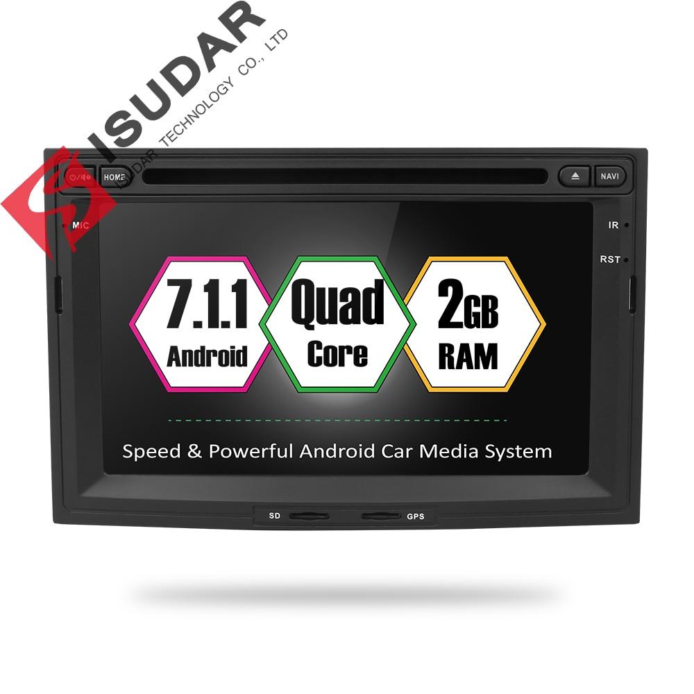Isudar автомобильный мультимедийный плеер 2 din Авто DVD android 7.1.1 7 дюймов для PEUGEOT/партнер 5008 3008 4 ядра 2G RAM радио FM gps BT