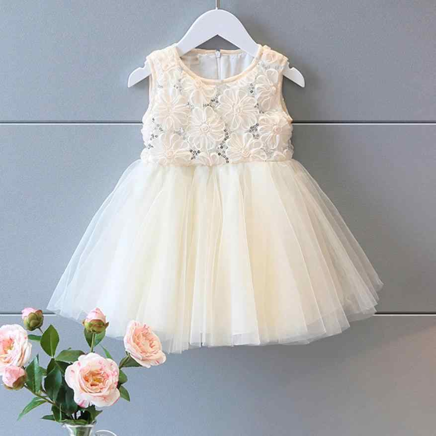 Kid Girls Princess Rose Sequined Lace Tutu Dress Sleeveless Lanon Dress pure white wedding angle dress July21