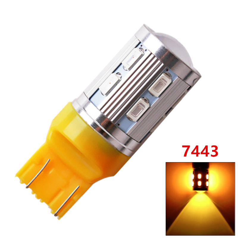 20pcs 7443 7440 Car LED bulbs 12 SMD 5730 W21/5W 5W High power XPE LED lamp Bulbs car light source parking Yellow Amber