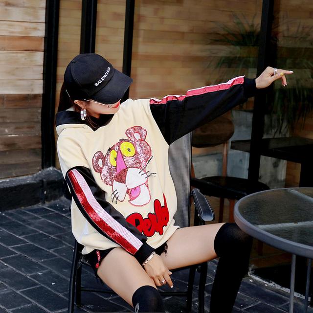 Women Street Wear Color Block Spliced Hoodies Student's Cartoon Sequins Hooded Sweatshirts Thick Warm Long Velvet Pullovers