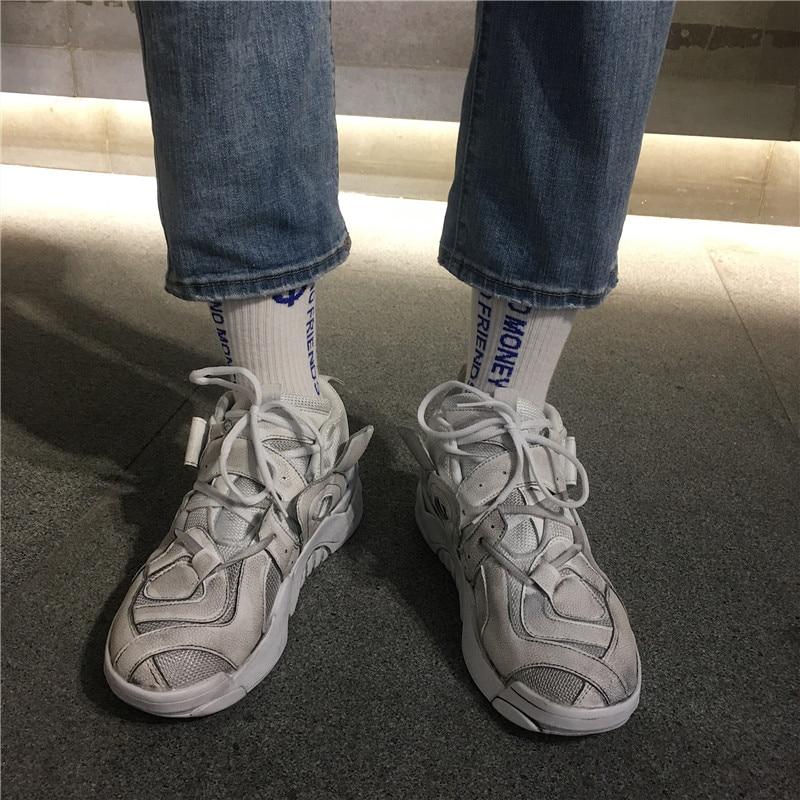 Formateurs Occasionnels Respirant Noir Papa Lumière bleu Mode 2018 Chaussures Zapatos Kanye jaune Sneakers Ouest blanc Hommes Maille Vintage Hwq78
