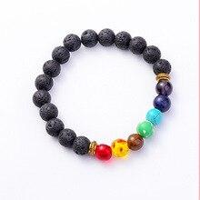 Цветной браслет из вулканического камня для мужской энергии семь чакр ручной браслет для йоги 120 шт/партия dhl