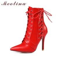 Meotina מגפי נשים החורף אדום תחרה עד אמצע עגל מגפי עקב גבוה 2017 הבוהן מחודדת מגפי נעלי סתיו לבן בגודל גדול שחור 11 46