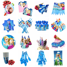 Frozen Elsa And Anna Theme Tablecloth Napkins Plates  Popcorn Supplies Cups Knives Forks Spoons Birthday Party Decoration
