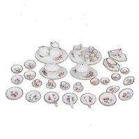 oMoToys 50pcs/set Dollhouse Miniature Dining Ware 1:12 Scale Porcelain Tea Set Dish Cup Plate