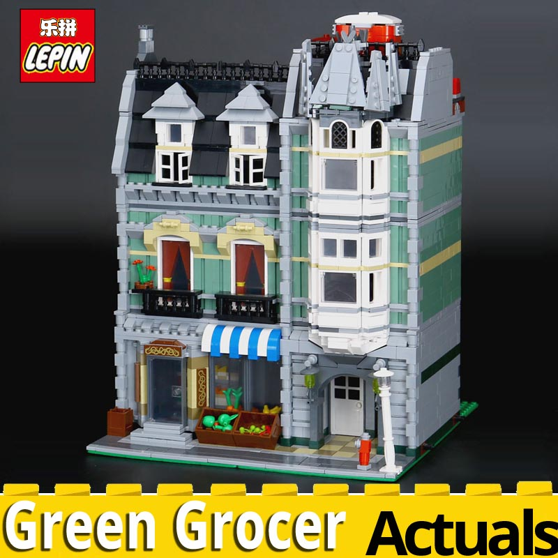 LEPIN 15008 New City Street Green Grocer Model Building Blocks Bricks Toy for child boy Gift Compatitive Funny Kit 10185 2462PCS dhl lepin15008 2462pcs city street green grocer model building kits blocks bricks compatible educational toy 10185 children gift