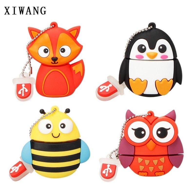 Cartoon Cute Penguin Owl Fox Pendrive Pen Drive 4GB 8GB 16GB USB Flash Drive 32GB 64GB Memoria Stick 128gb Animal Free Shipping