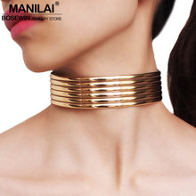 MANILAI Leather Statement Choker Necklace For Women Fashion Gold Color Collar Necklace African Jewelry Adjustable(China)