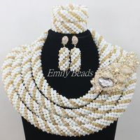 Champagne Gold Nigerian Crystal Beads Necklaces Bracelet Earrings Jewelry Set African White Wedding Beads Jewelry Sets AIJ242