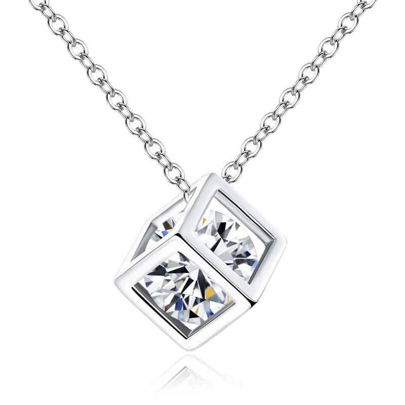 925 Sterling Silver AAA CZ Rubik/'s Cube Pendant Necklace For Women Xmas Gift