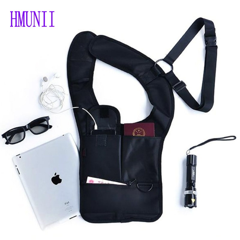 Multifunction Men Travel Anti Theft Hidden Underarm Shoulder Bag Black Nylon Pocket Mp3 Mobile Phone Storage Organizer