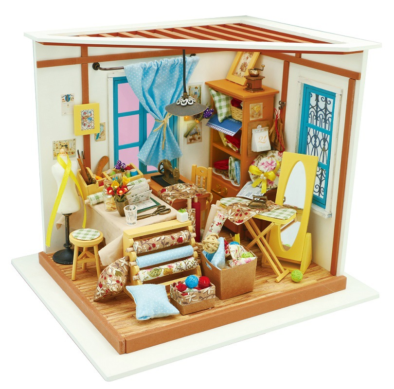 Boutique de tailleur DG101 bricolage Kit maison de poupée cadeau avec des meubles Intelligence drôle Miniature maison de poupée Set jouets pour enfants enfants