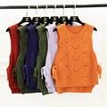 2016 корейская мода осень лук повязки пуловер вязаный свитер женщин полые крючком жилет жилет без рукавов вершины для дам