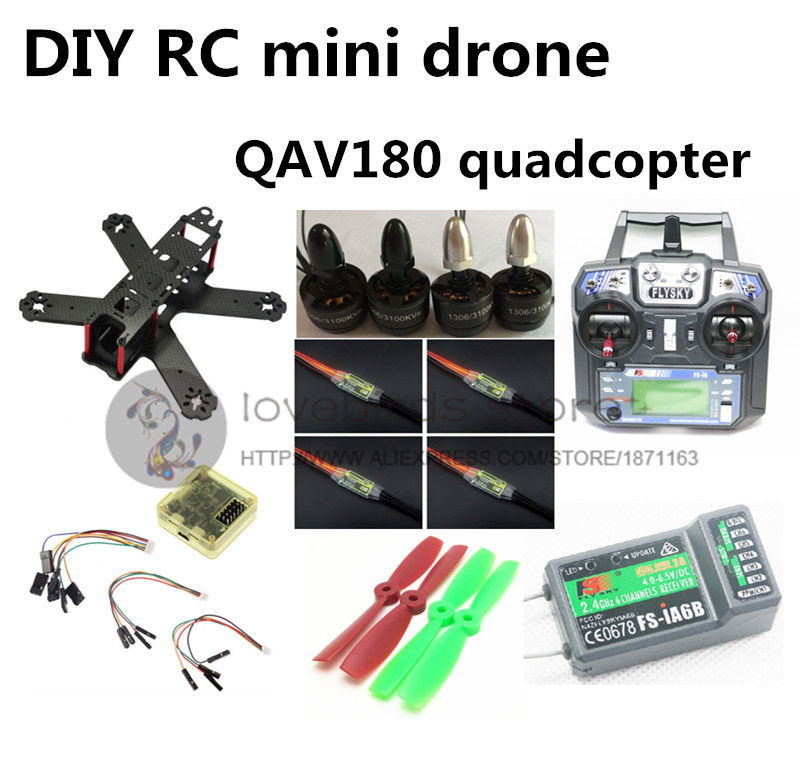 DIY FPV системы мини Drone qav180 rc кросс гонки Quadcopter комплект и RTF чистого углерода cc3d + 1306 + blheli программа 6a ESC + Flysky fs i6 + ia6b