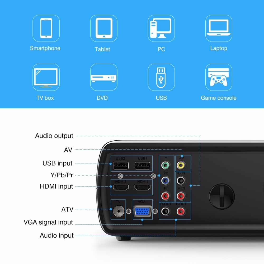 Excelvan BL23 2600 Lumen LED Proyektor Multimedia Home Cinema Projector USB/AV/HDMI/ATV/VGA TFT LCD Projetor Built-In Speaker