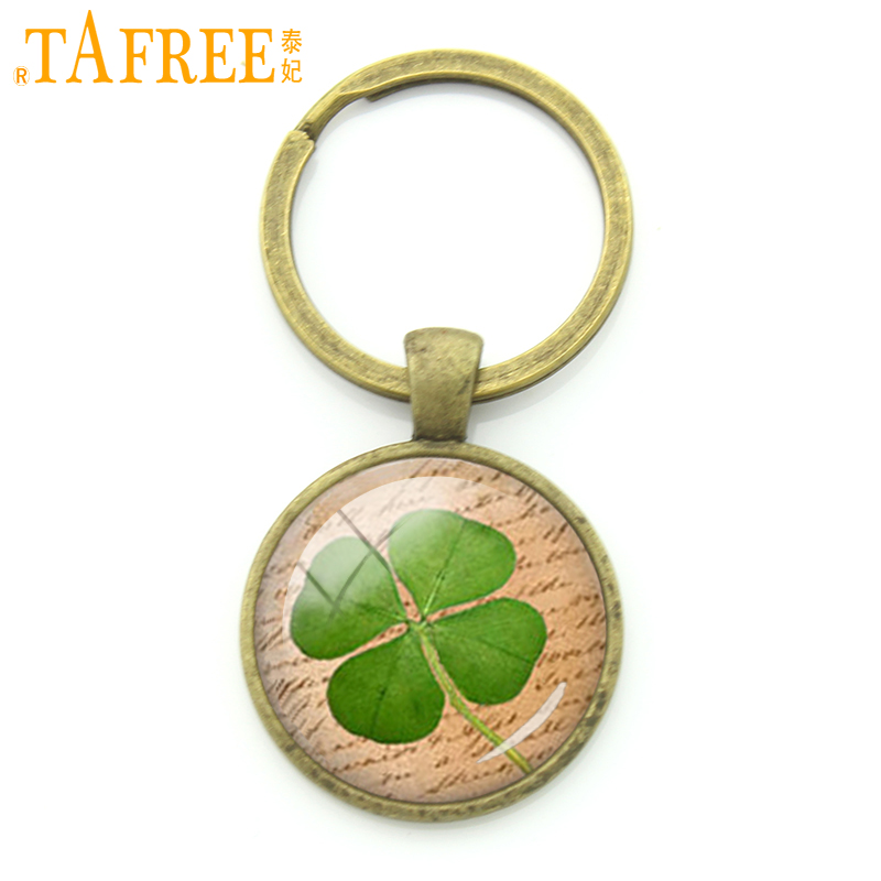 TAFREE Charm Plant Jewelry Lucky Four Leaf Clover Key Chain ring holder Retro BookPage Art men women Keychain Gift for car KC227 цены онлайн