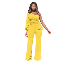 0b81876dfd7 Black And Yellow Color Women Jumpsuits Full Sleeve One Shoulder Sleeveless  Backless Sexy Party Romper Wide