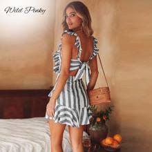 WildPinky Women 2019 Summer Beach Dress Stripe Backless Lace Up Bow Ruffles A-Line New Fashion Party Mini Vestidos