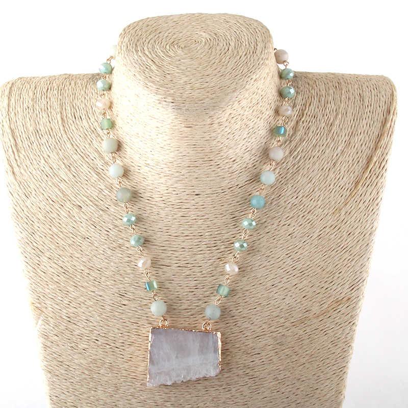 Новые стили, модные ювелирные изделия, натуральный камень/стекло, натуральный Друза, подвеска, ожерелье s для женщин, этническое ожерелье