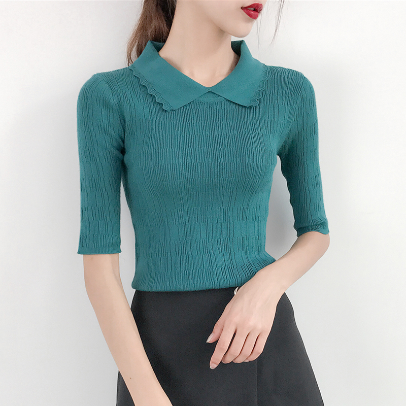2018 new autumn Korean female loose short sleeved sweater slim sleeve head silk coat bottoming sweaters in summer