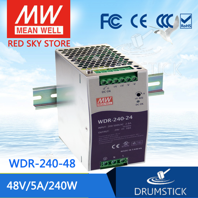 все цены на Hot sale MEAN WELL WDR-240-48 48V 5A meanwell WDR-240 48V 240W Single Output Industrial DIN RAIL Power Supply онлайн