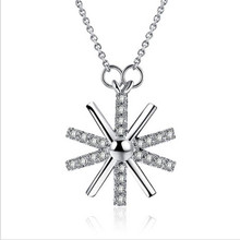 TJP Trendy Geometric Female Gold Pendants Necklace For Women Jewelry Fashion 925 Sterling Silver Accessories Lady