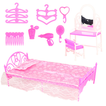 Fashion handmade 33 Items/Lot dollhouse accessories doll bed funiture dresses hangers dressing chair desk for barbie game DIY