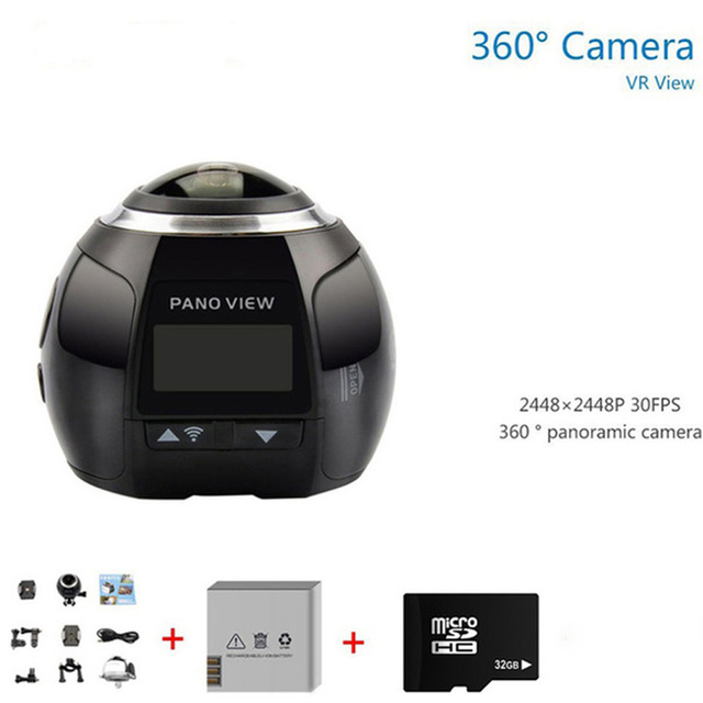 Wifi Panorama 360 Sport Camera 2448*2448 30 fps Mini Video Waterproof Camera Action Action VR camera + 32G card+1 extra battery