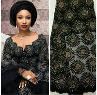 Latest African French net Lace With Plenty stones Tulle Heavy Lace Fabric 5 yards For Big Occasion dresses