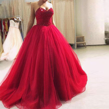 Real Customized Long Prom Party Gowns Sweetheart Beaded Bodice Tulle Ball Gown Red Dress 2019