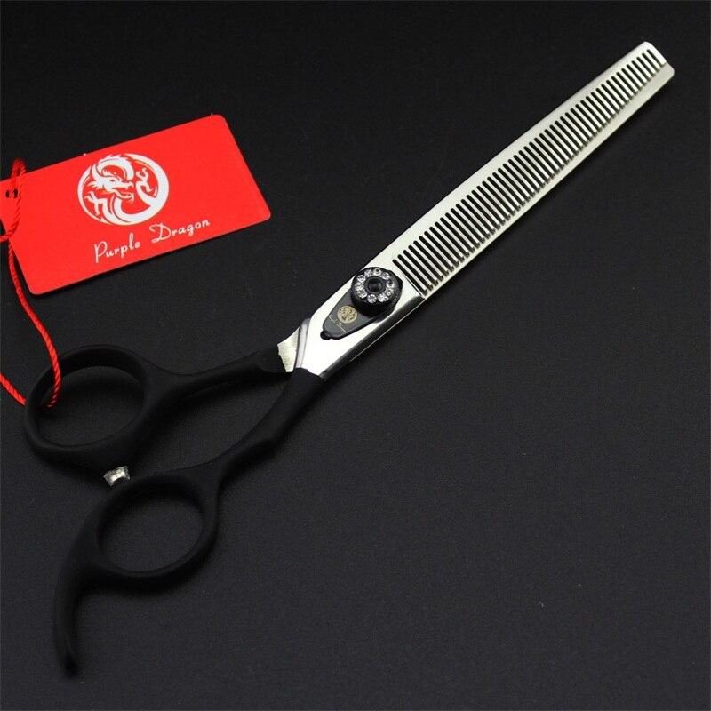 Профессиональные Япония 440C 7,0 дюймов ножницы для ухода за животными набор прямых и изогнутых и филировочных ножниц животные инструменты дл... - 4