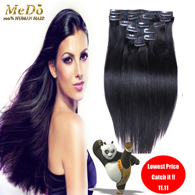 8a African American Clip In Human Hair Extensions 1b Brazilian