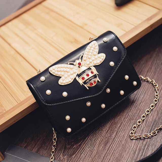 2017 Women Luxury Rhinestones Bee Purses and Handbags Small Chain Crossbody Bag For Ladies Evening Bags Party Bag Bolsa Feminina