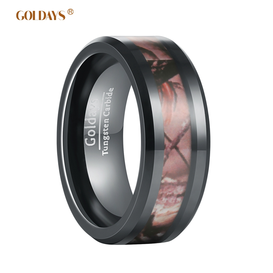 goldays 8mm mens black camo hunting camouflage tungsten wedding rings band jungle tree inlay finished