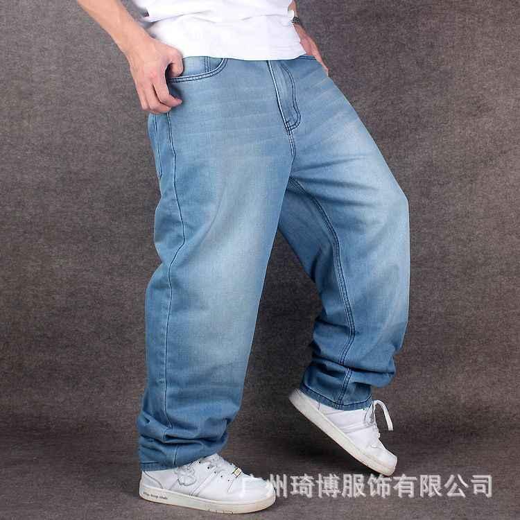 Pantalones de mezclilla de pierna ancha Hip Hop azul claro Skateboarder Jeans  de talla grande pantalones 9503dd45372