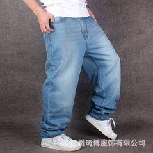 Мужчины Широкую Ногу Джинсовые Брюки Хип-Хоп голубой Скейтбордист джинсы плюс размер мешковатые джинсы Рэппер Скейтборд Спокойной Жан бегунов