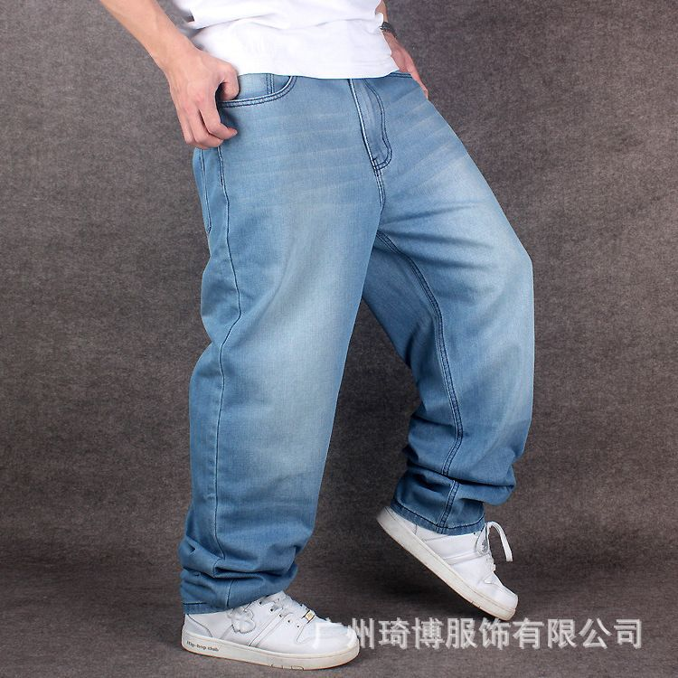 Men Wide Leg Denim Pants Hip Hop light blue Skateboarder Jeans plus size baggy jeans for Rapper Relaxed Jean joggers 71807 hip hop jeans for men 2017 new fashion light blue baggy jeans skateboarder denim pants free shipping