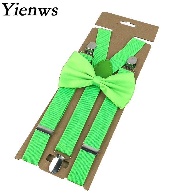 Yienws Bretels Mannen Adulto Suspenders Basic Brace And Bow Tie for Men Women Wedding Party Elastic 3 Clip Ligas Tirantes YiA078