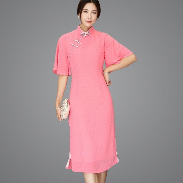 c82da2f22 New Red Chinese Vintage Style Cheongsam Sexy Slim Flower Chinese Dress  Chiffon Handmade Button Flare Sleeve Qipao S-XXL